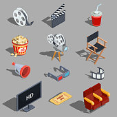 Vector set of isometric illustrations making movies and watching a movie in the cinema. Design elements