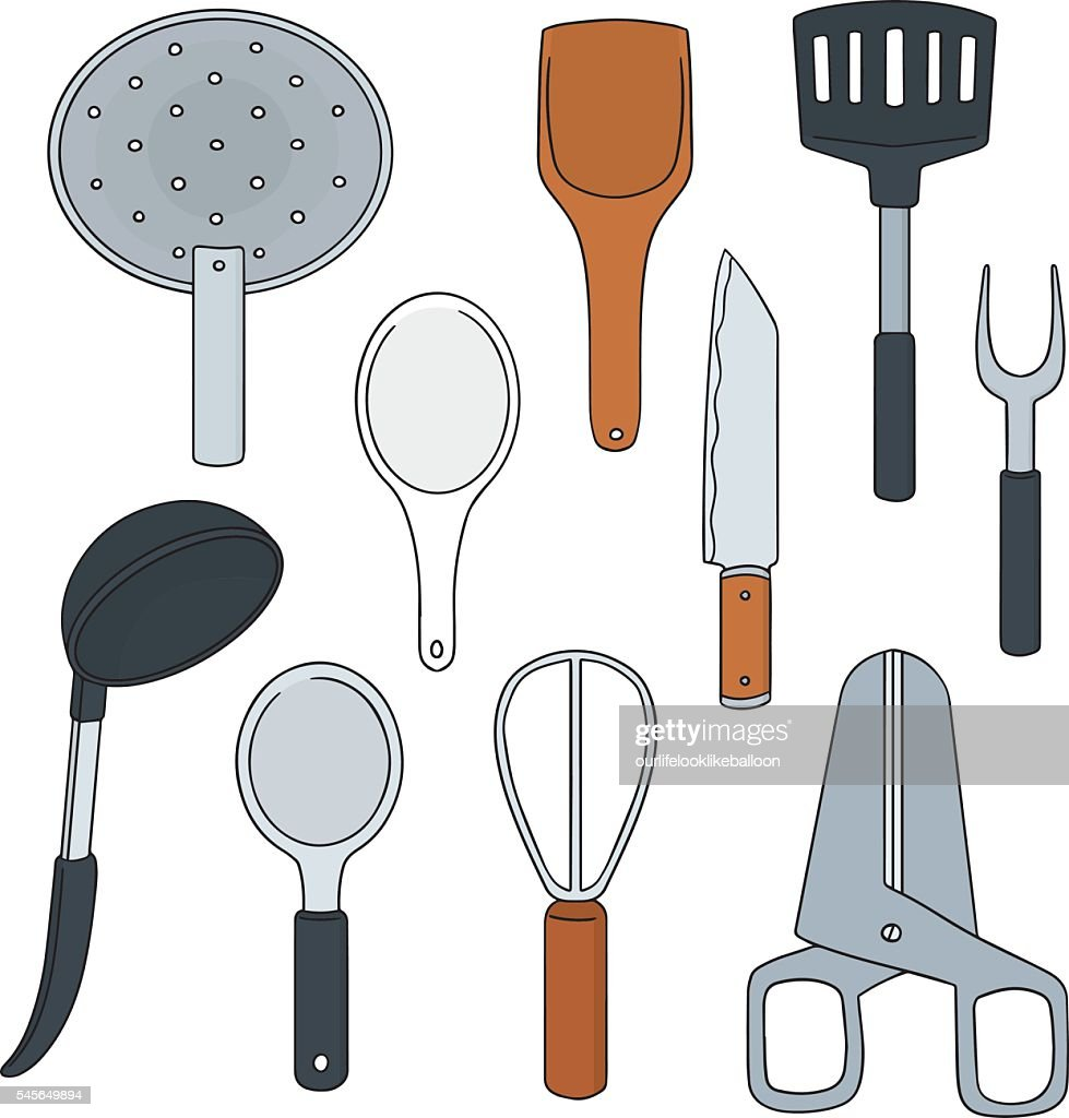 Vector set of kitchen tool vector art getty images for Kitchen set vector