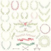 Vector Collection of Laurels, Floral Elements and Banners. Large JPG included. No transparencies or gradients used. Each laurel is individually grouped for easy editing.