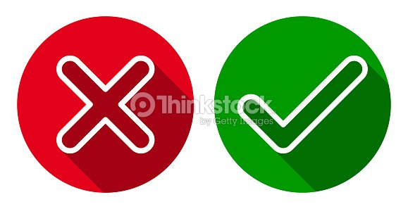 6915769f6fc Vector set of line cross & check mark icons, flat round buttons. : stock