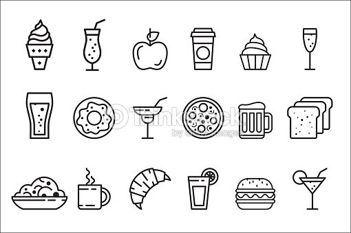 Vector set of linear food and drink icons. Tasty meal, cocktails in glasses and sweet desserts
