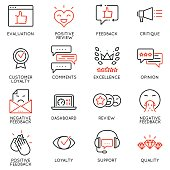 Vector Set Of Linear Icons Related to Feedback, Review and Customer Relationship Management. Mono Line Pictograms and Infographics Design Elements