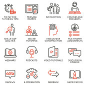 Vector set of linear icons related to online tutoring, training and professional consulting service. Mono line pictograms and infographics design elements