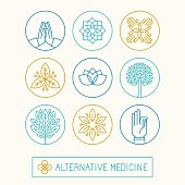 Vector set of logo design templates and icons in trendy linear style - holistic and alternative medicine
