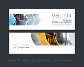 Vector set of modern horizontal website banners with grey geometric shapes for industry, beauty, tech, communication. Clean web headers design with overlay effect.