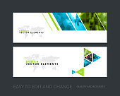 Vector set of modern horizontal website banners with green geometric shapes for industry, beauty, tech, communication. Clean web headers design with overlay effect.