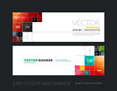 Vector set of modern horizontal website banners with colourful rectangular shapes, squares, lines, rounds for IT, business, building, network, communication.  Clean web headers design.