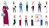 Vector Set of muslim arabian business woman character poses