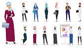 Vector Set of muslim arabian business woman character poses