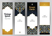 Vector set of ornate vertical cards in oriental style. Bright Eastern floral decor on dark backdrop. Template vintage frame for greeting card and wedding invitation. Labels and tags with place for tex