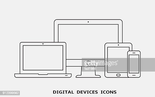 Vector set of outline device icons. Monitor, laptop, tablet pc and smartphone : stock vector