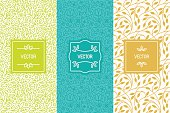 Vector set of packaging design templates, seamless patterns and frames with copy space for text for cosmetics, beauty products, organic and healthy food with green leaves and flowers - modern style or