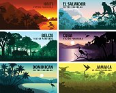 vector set of panorams countries of caribbean and Central America - Haiti, Jamaica, Dominicana, Cuba, El Salvador, Belize.