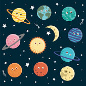 Vector set of planets for children. Bright and cute flat illustration of smiling Earth, Sun, Moon, Venus, Mars, Jupiter, Mercury, Saturn, Neptun on dark blue background. Space picture for kids.