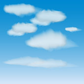 vector set of realistic clouds on a blue sky background. varying degrees of transparency