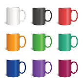 Vector set of realistic colored cearmic mugs. Isolated cups with shadow on white background.