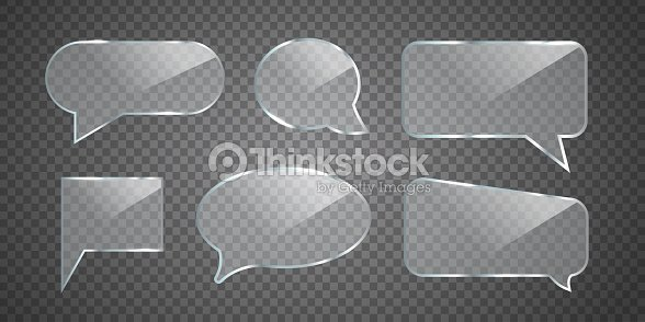 Vector Set Of Realistic Isolated Glossy Glass Speech Bubbles For