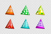 Vector set of realistic isolated party hats on the transparent background for photo decoration and covering. Concept of birthday, holiday and celebration.