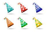 Vector set of realistic isolated party hats on the white background for photo decoration and covering. Concept of birthday, holiday and celebration.