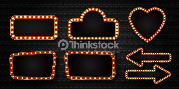 vector set of realistic isolated retro sign neon billboards on the