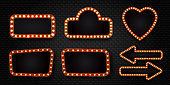 Vector set of realistic isolated retro sign neon billboards on the wall background. Template for vintage decoration and signboard.