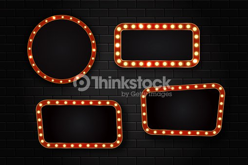 74513e5ad4 Vector set of realistic isolated retro sign neon billboards on the wall  background. Template for