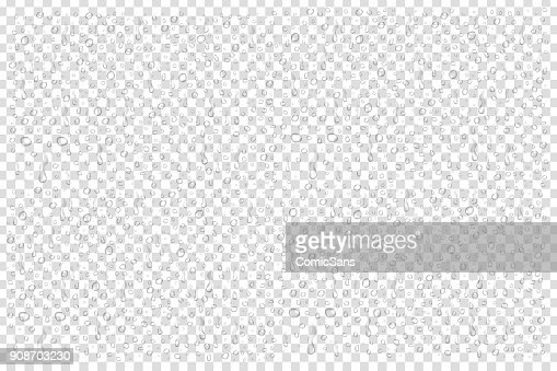 Vector set of realistic isolated water droplets on the transparent background. : stock vector