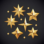 Glowing realistic golden stars background isolated on black.