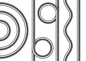 Set of shower hoses. Twisted, wavy, straight and arched repeatable shower pipe segments. Vector realistic illustration.