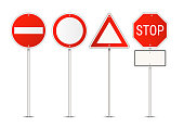 Vector set of restriction red and white traffic signs isolated on white background
