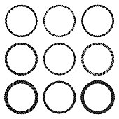 Vector set of round black monochrome rope frame. Collection of thick and thin circles isolated on the white background consisting of braided cord. For decoration and design in marine style