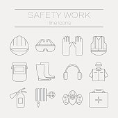 Vector set of safety work icons, including tools. Modern line style labels of safety and protection elements.