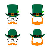 Set of Saint Patrick's Day character leprechaun with green hat, red beard and no face. Design elements for St. Patricks Day. Isolated on white background. Vector illustration.