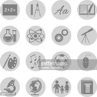 Vector Set of  School Subjects Icons. : Vector Art