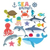 Vector set of sea creatures. Cute cartoon animals. Vector illustration