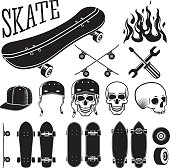 Set of skateboarding designer elements. Skates and flames, skull, helmet and cap. Vector