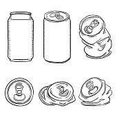 Vector Set of Black Sketch Aluminium Can Illustrations