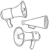 Vector Set of Sketch Megaphones and Loudspeakers on Isolated White Background