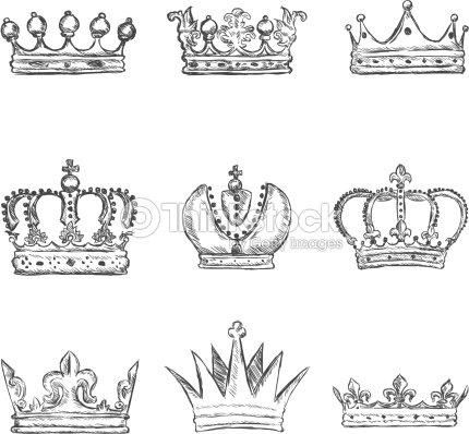 Vector Set Of Sketch Royal Crown Icons Vector Art   Thinkstock