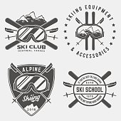 vector set of skiing logos, emblems and design elements. logotype templates and badges. outdoor activity symbols