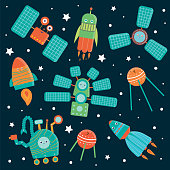 Vector set of space technics for children. Bright and cute flat illustration of spaceship, rocket, satellite,  space station, rover on dark blue background