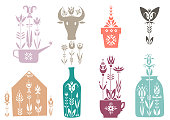 Vector set of spring elements decorated with flowers. Watering can, cow, flowerpot, seedling, greenhouse, bottle, mug, jar.