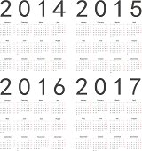 Set of square european 2014, 2015, 2016, 2017 year vector calendars. Week starts from Monday. EPS10.