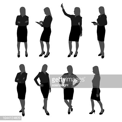 vector set of stand businesswoman silhouette. businesswoman with different action such as using mobile phone , posing , working with tablet : stock vector