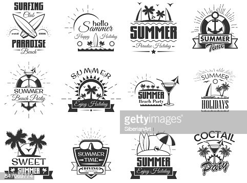 Vector set of summer season labels in vintage style. Design elements, icons, . Summer camp, beach holidays, tropical sea vacations. - stock vector : Arte vetorial