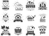 Vector set of summer season labels in vintage style. Design elements, icons, , emblems and badges isolated on white background. Summer camp, beach holidays, tropical sea vacations. - stock vector