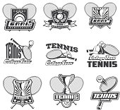 Vector set of tennis badges painted in shades of gray for your design, print, web isolated on white background