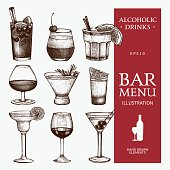 Ink hand drawn beverage illustrations for bar or restaurant menu isolated on white background