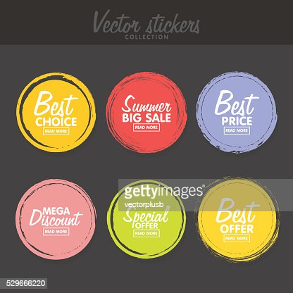 Vector set of vintage colorful  labels for greetings and promotion. : stock vector