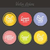 Vector set of vintage colorful  labels for greetings and promotion. Premium Quality Guarantee, Bestseller, Best Choice, Sale, Special Offer
